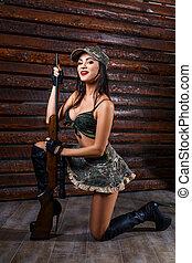 retrato, de, hermoso, sexy, mujer, en, uniforme, militar