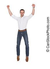 retrato, de, hombre, con, brazo levantado