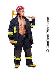 retrato, de, hombre del músculo, posar, en, uniforme