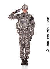 retrato, de, hombre, en, uniforme militar, saludar