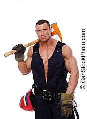 retrato, de, hombre fuerte, en, bombero, uniforme