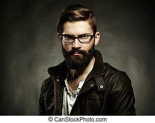 retrato, de, homem, com, óculos, e, barba