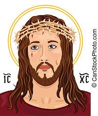 retrato, de, jesucristo, con, christogram