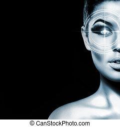 retrato, de, jovem, atraente, mulher, isolado, branco