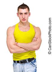 retrato, de, jovem, bonito, homem, em, jersey amarela