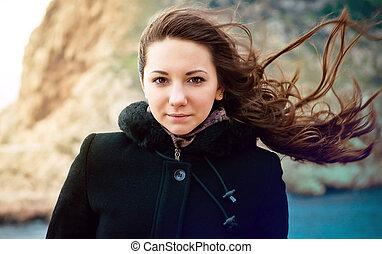 retrato, de, jovem, charming, morena, menina