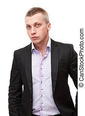 retrato, de, jovem, confiante, homem negócio, com, cabelo loiro, ficar, branco, fundo