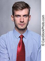 retrato, de, jovem, homem negócio