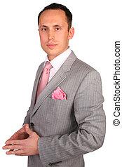 retrato, de, jovem, homem negócios