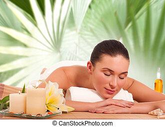 retrato, de, jovem, mulher bonita, em, spa, meio ambiente