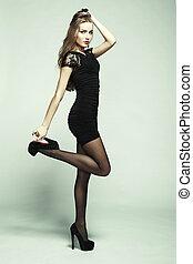 retrato, de, joven, bailando, niña, con, elegante, pelo...