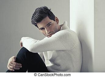 retrato, de, joven, guapo, hombre