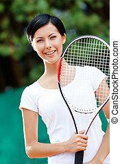 retrato, de, joven, hembra, jugador del tenis