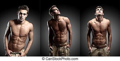 retrato, de, joven, hombre fuerte