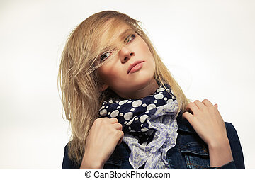retrato, de, joven, moda, mujer, al aire libre