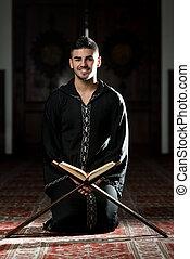 retrato, de, joven, musulmán, hombre