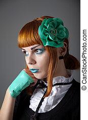 retrato, de, joven, pelirrojo, mujer, con, azul, maquillaje