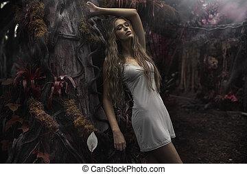 retrato, de, joven, rubio, mujer, en, fairyland