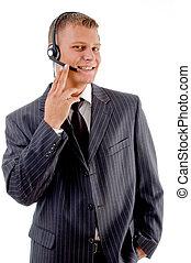 retrato, de, joven, servicio de cliente, proveedor