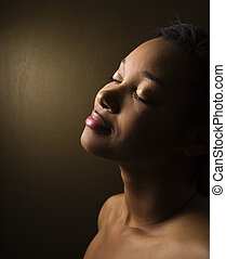 retrato, de, joven, woman.