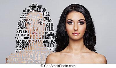 retrato, de, joven y sano, mujer, en, asistencia médica, y, cosméticos, concept., collage, con, palabra, mosaic.