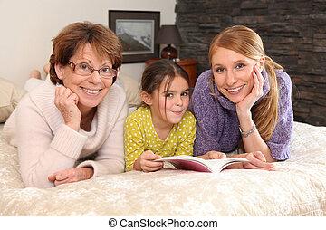 retrato de la familia, de, tres generaciones