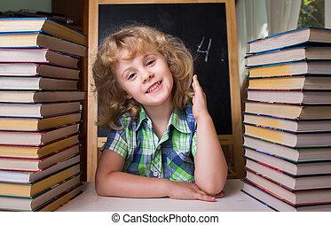 retrato, de, lindo, colegiala, levantar la mano, astuto, la respuesta, a, el, pregunta