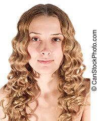 retrato, de, loura, cabeludo, girl.