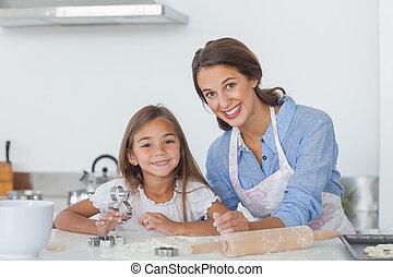 retrato, de, mãe filha, assando, junto