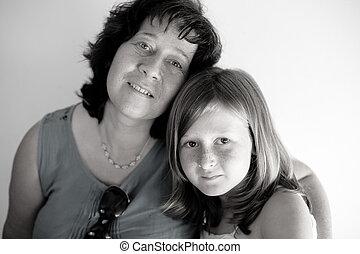 retrato, de, mãe filha