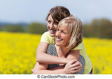 retrato, de, madre e hija