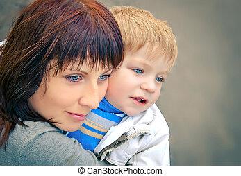 retrato, de, madre e hijo
