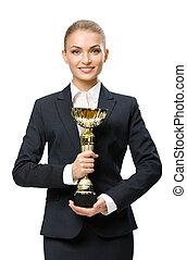 retrato de medio cuerpo, retrato, de, mujer de negocios, mantener, taza de oro