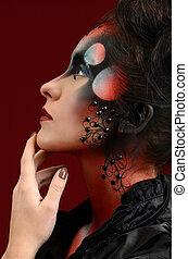 retrato, de, menina bonita, com, criativo, arte, maquilagem, pintado, diferente, cores