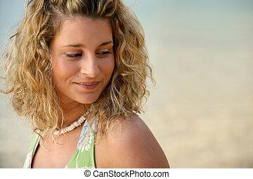 retrato, de, menina bonita, praia