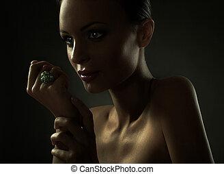 retrato, de, moda, mujer, modelo