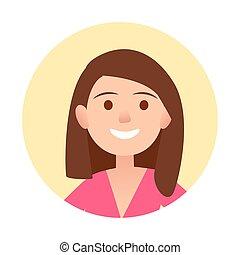 retrato, de, morena, alegre, mujer, primer plano, icono