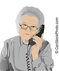 retrato, de, mujer anciana