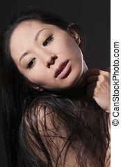 retrato, de, mujer asiática