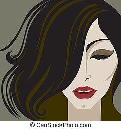 retrato, de, mujer, con, maquillaje