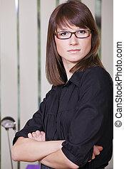 retrato, de, mujer de negocios