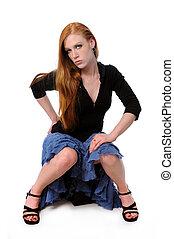 retrato, de, mujer joven, sentado