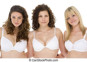 retrato, de, mujeres, en, su, ropa interior