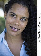 retrato, de, mulher americana africana