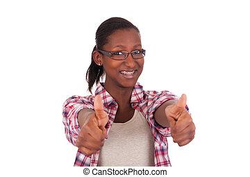 retrato, de, mulher bonita, africano, pretas
