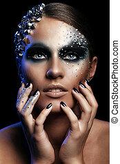 retrato, de, mulher, com, artisticos, maquiagem