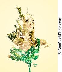 retrato, de, mulher, com, folhas