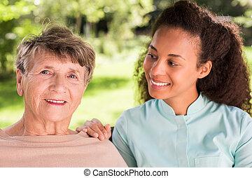 retrato, de, mulher, e, caregiver