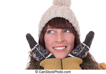 retrato, de, mulher feliz, em, inverno, com, luvas, e, boné