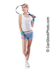 retrato, de, mulher jovem, com, raquete tênis, isolado, branco